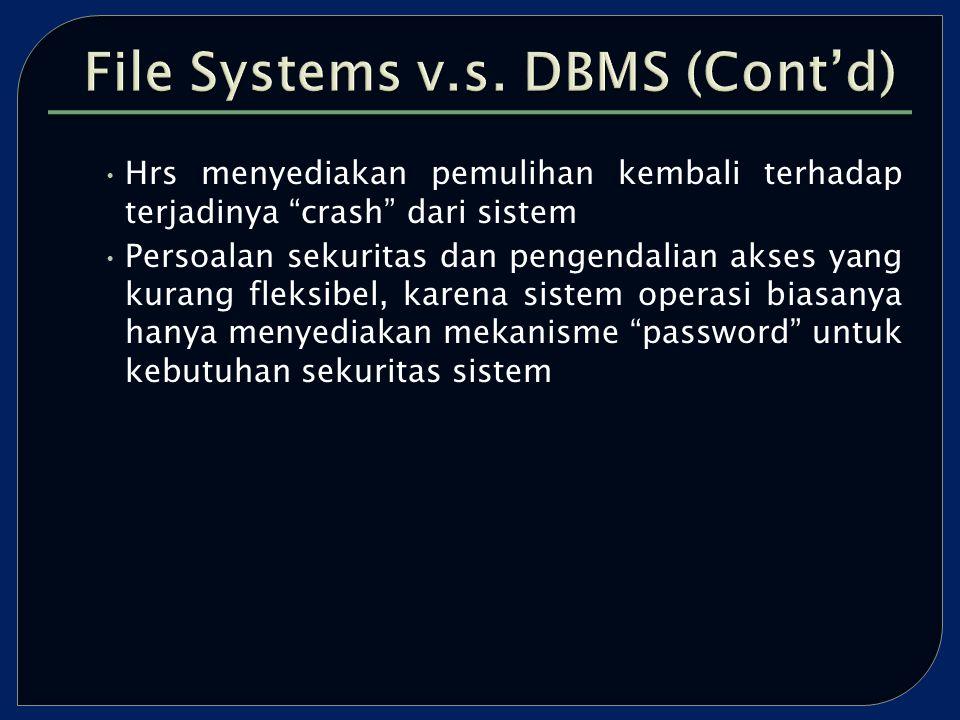 Hrs menyediakan pemulihan kembali terhadap terjadinya crash dari sistem Persoalan sekuritas dan pengendalian akses yang kurang fleksibel, karena sistem operasi biasanya hanya menyediakan mekanisme password untuk kebutuhan sekuritas sistem
