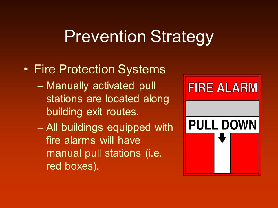 Prevention Strategy Fire Protection Systems –Manually activated pull stations are located along building exit routes. –All buildings equipped with fir