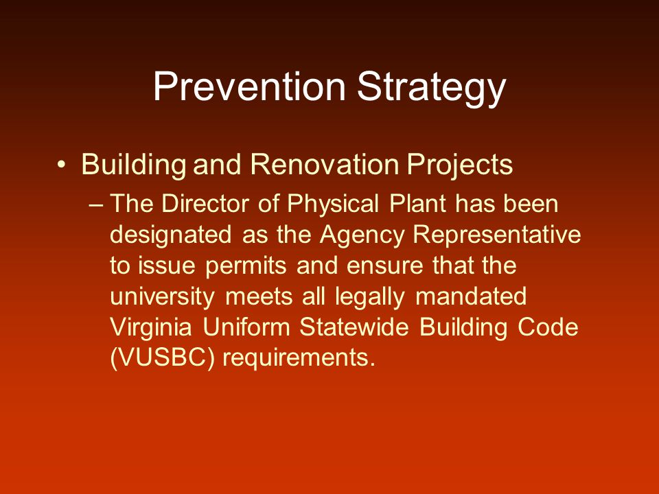 Prevention Strategy Building and Renovation Projects –The Director of Physical Plant has been designated as the Agency Representative to issue permits