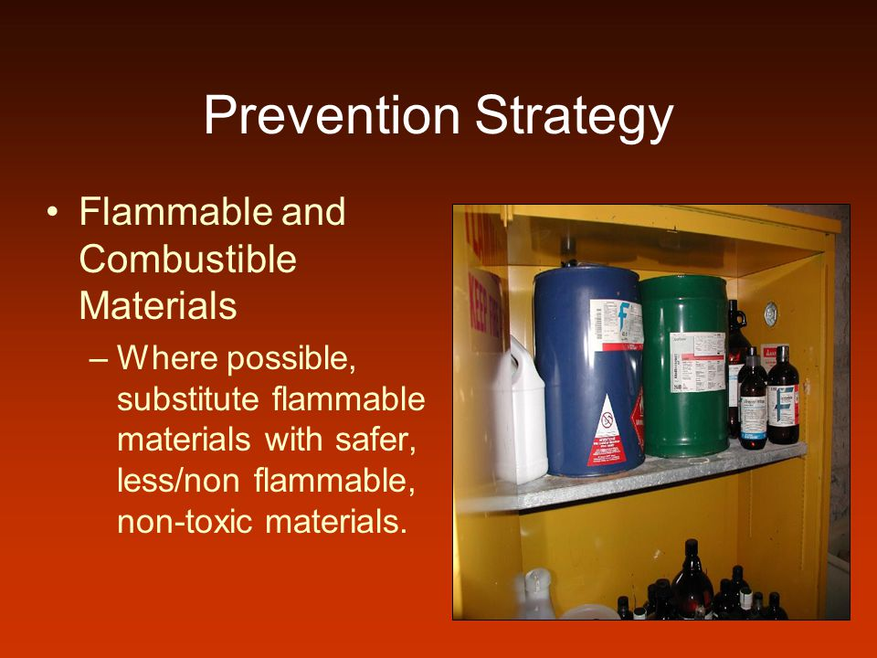 Prevention Strategy Compressed Gas Cylinders –Keep valves closed and put caps on cylinders when not in use.