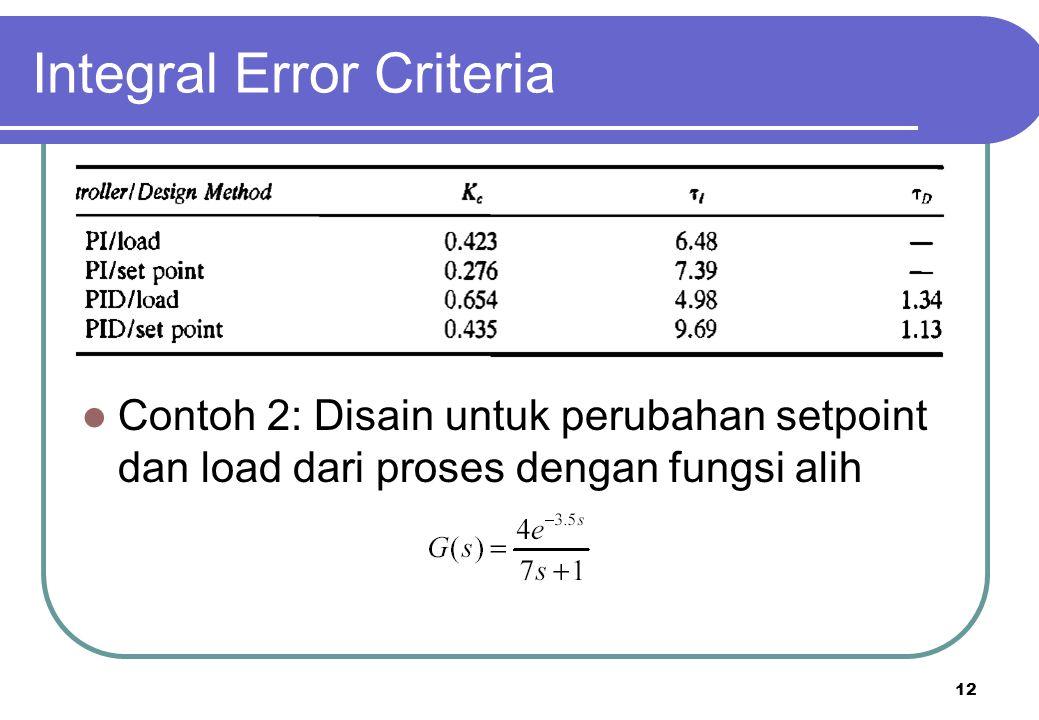 12 Integral Error Criteria Contoh 2: Disain untuk perubahan setpoint dan load dari proses dengan fungsi alih