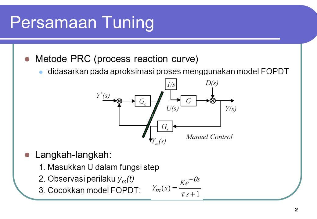 2 Persamaan Tuning Metode PRC (process reaction curve) didasarkan pada aproksimasi proses menggunakan model FOPDT Langkah-langkah: 1. Masukkan U dalam