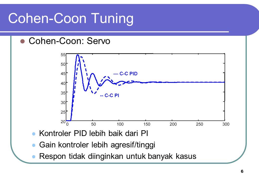 6 Cohen-Coon Tuning Cohen-Coon: Servo Kontroler PID lebih baik dari PI Gain kontroler lebih agresif/tinggi Respon tidak diinginkan untuk banyak kasus