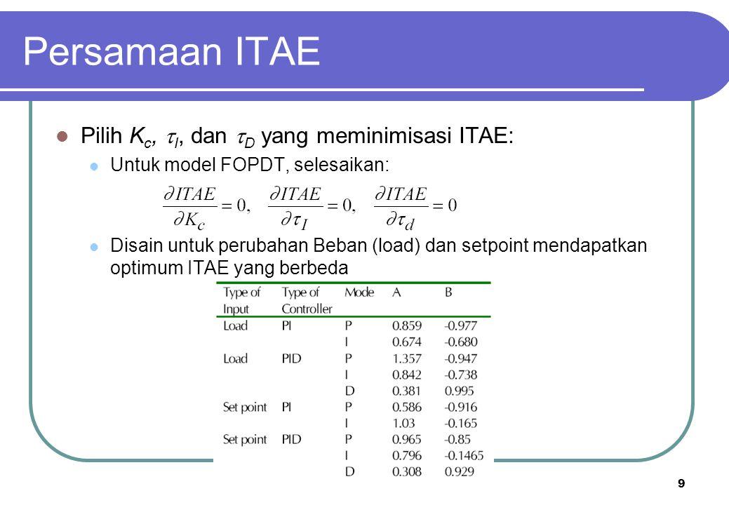 9 Persamaan ITAE Pilih K c,  I, dan  D yang meminimisasi ITAE: Untuk model FOPDT, selesaikan: Disain untuk perubahan Beban (load) dan setpoint menda