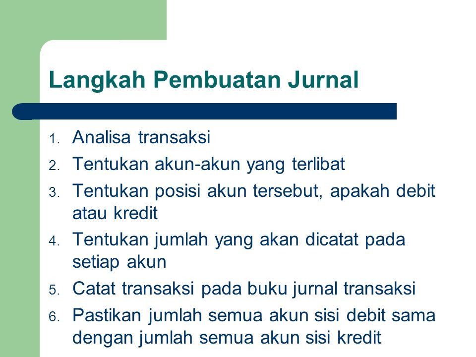 Langkah Pembuatan Jurnal 1. Analisa transaksi 2. Tentukan akun-akun yang terlibat 3. Tentukan posisi akun tersebut, apakah debit atau kredit 4. Tentuk