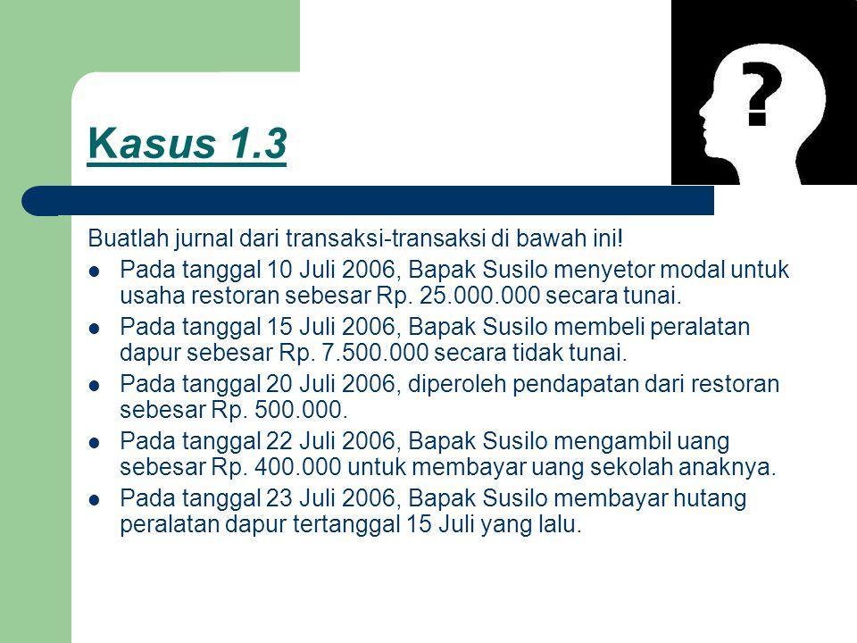 Kasus 1.3 Buatlah jurnal dari transaksi-transaksi di bawah ini! Pada tanggal 10 Juli 2006, Bapak Susilo menyetor modal untuk usaha restoran sebesar Rp