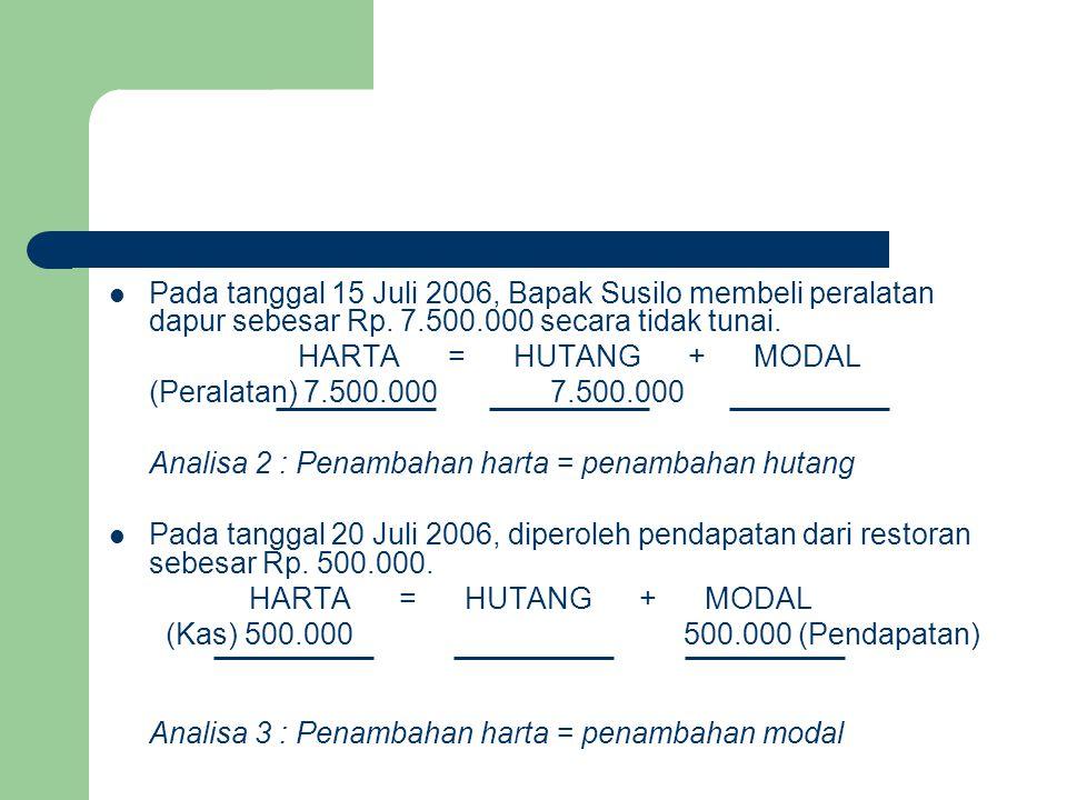 Pada tanggal 15 Juli 2006, Bapak Susilo membeli peralatan dapur sebesar Rp. 7.500.000 secara tidak tunai. HARTA = HUTANG + MODAL (Peralatan) 7.500.000