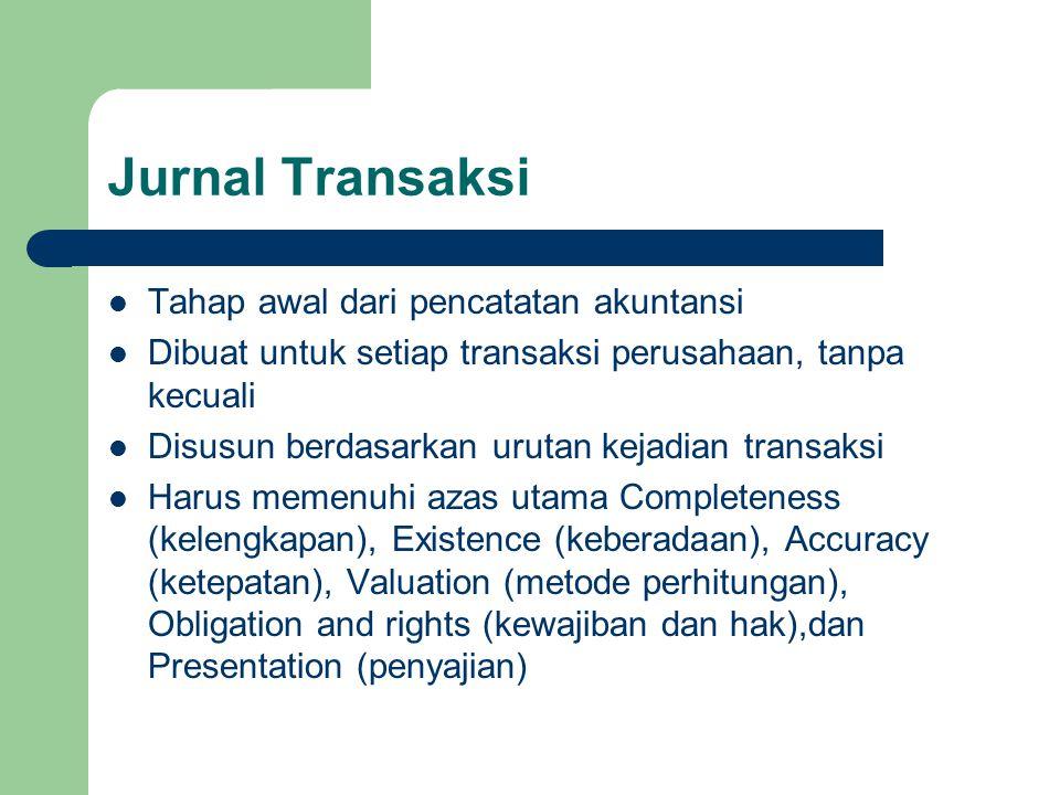 Jurnal Transaksi Tahap awal dari pencatatan akuntansi Dibuat untuk setiap transaksi perusahaan, tanpa kecuali Disusun berdasarkan urutan kejadian tran