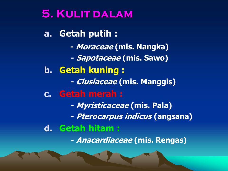 5. Kulit dalam a.Getah putih : - Moraceae (mis. Nangka) - Sapotaceae (mis. Sawo) b.Getah kuning : - Clusiaceae (mis. Manggis) c.Getah merah : - Myrist
