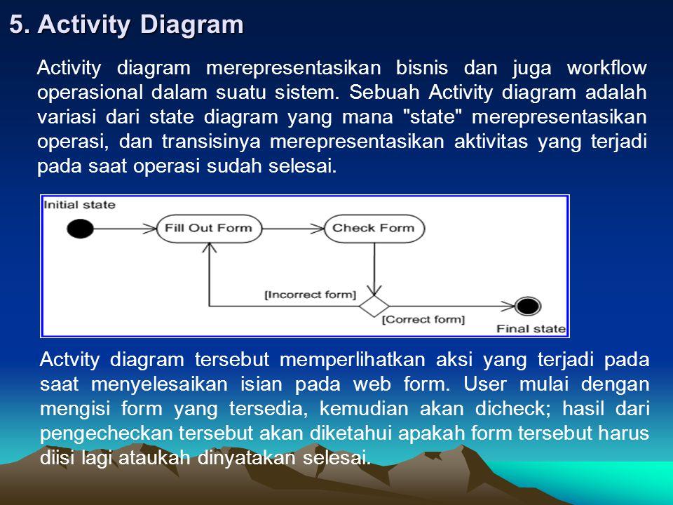 5. Activity Diagram Activity diagram merepresentasikan bisnis dan juga workflow operasional dalam suatu sistem. Sebuah Activity diagram adalah variasi