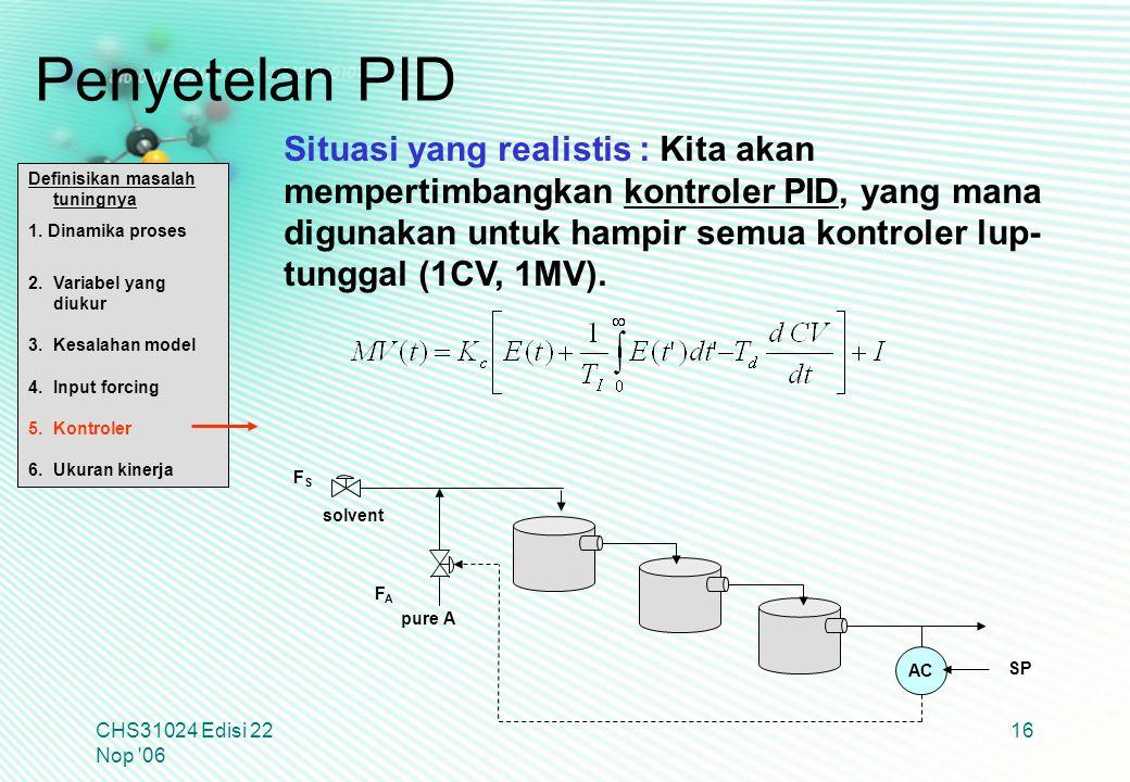 CHS31024 Edisi 22 Nop '06 16 Definisikan masalah tuningnya 1. Dinamika proses 2.Variabel yang diukur 3.Kesalahan model 4.Input forcing 5.Kontroler 6.U