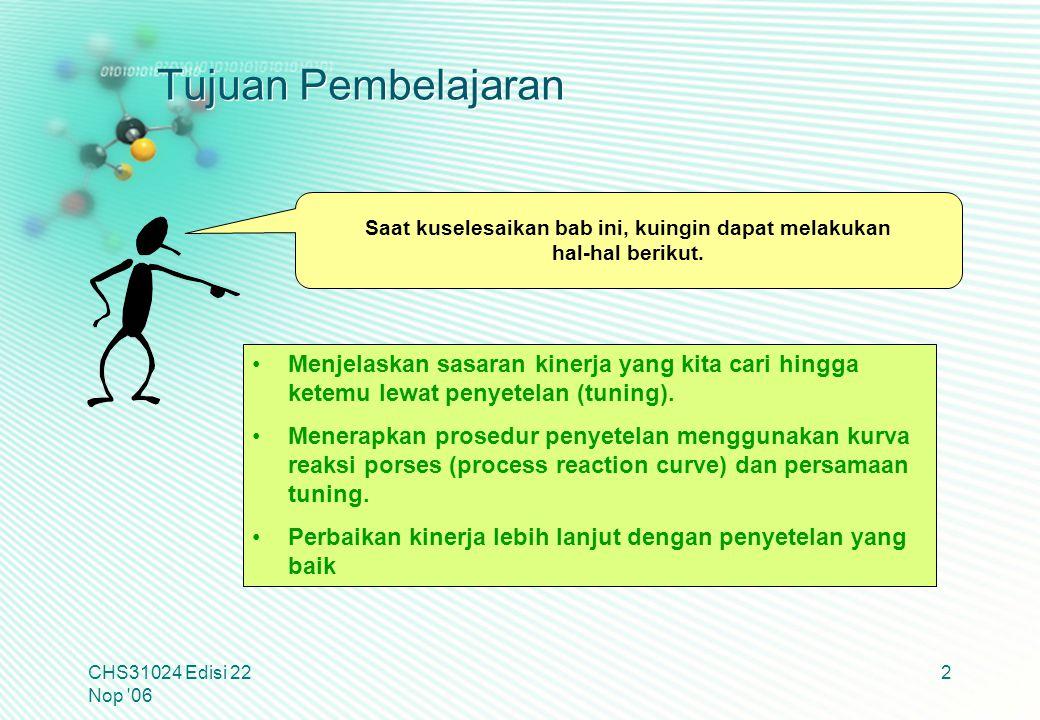 Tujuan Pembelajaran CHS31024 Edisi 22 Nop '06 2 Menjelaskan sasaran kinerja yang kita cari hingga ketemu lewat penyetelan (tuning). Menerapkan prosedu