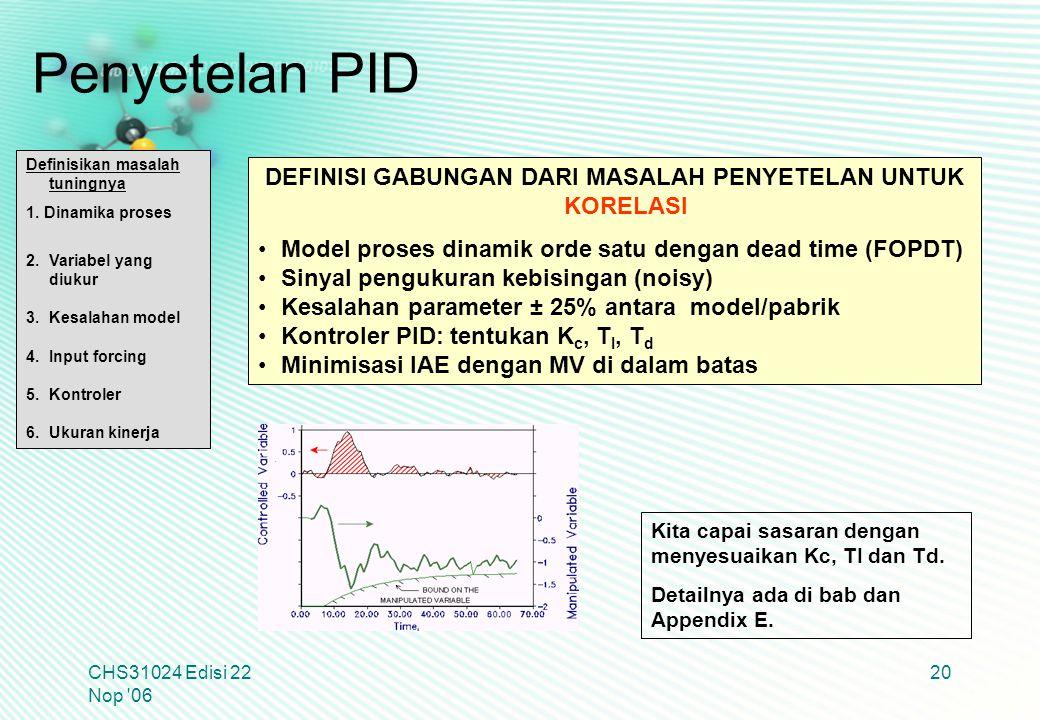 CHS31024 Edisi 22 Nop '06 20 DEFINISI GABUNGAN DARI MASALAH PENYETELAN UNTUK KORELASI Model proses dinamik orde satu dengan dead time (FOPDT) Sinyal p