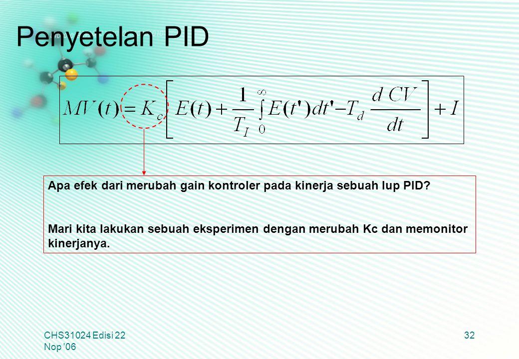 CHS31024 Edisi 22 Nop '06 32 Apa efek dari merubah gain kontroler pada kinerja sebuah lup PID? Mari kita lakukan sebuah eksperimen dengan merubah Kc d