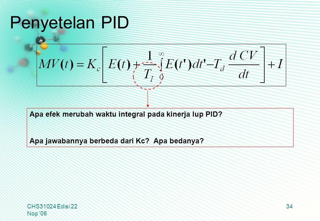 CHS31024 Edisi 22 Nop '06 34 Apa efek merubah waktu integral pada kinerja lup PID? Apa jawabannya berbeda dari Kc? Apa bedanya? Penyetelan PID