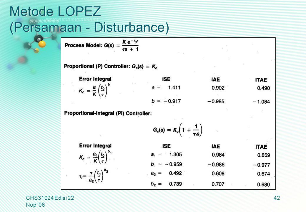 Metode LOPEZ (Persamaan - Disturbance) CHS31024 Edisi 22 Nop '06 42