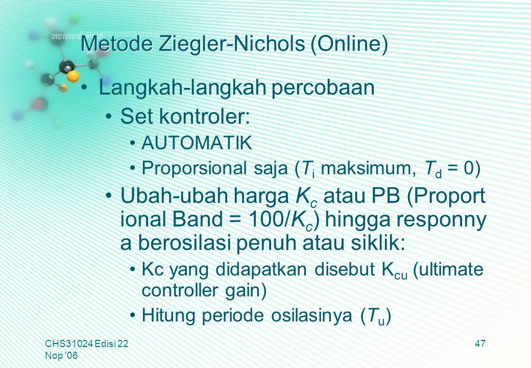 Metode Ziegler-Nichols (Online) Langkah-langkah percobaan Set kontroler: AUTOMATIK Proporsional saja (T i maksimum, T d = 0) Ubah-ubah harga K c atau