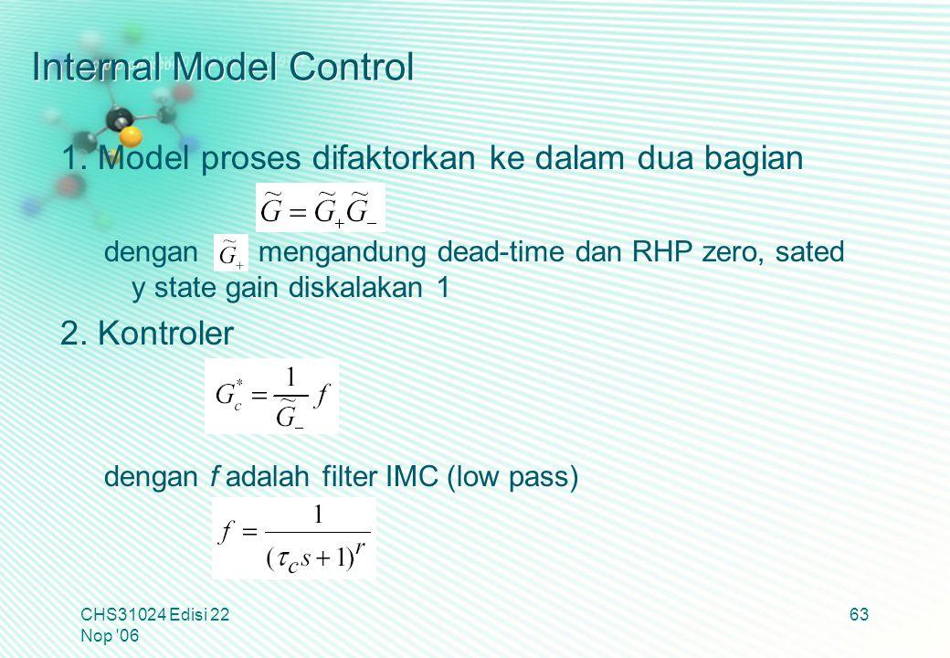 Internal Model Control 1. Model proses difaktorkan ke dalam dua bagian dengan mengandung dead-time dan RHP zero, sated y state gain diskalakan 1 2. Ko