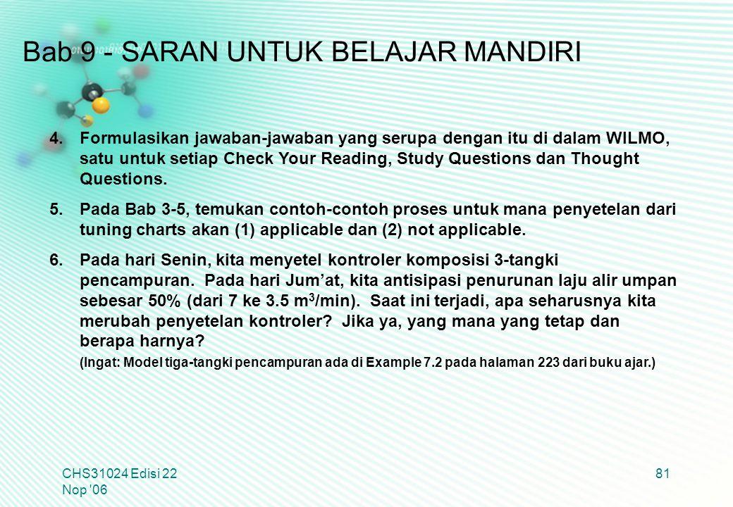 CHS31024 Edisi 22 Nop '06 81 4.Formulasikan jawaban-jawaban yang serupa dengan itu di dalam WILMO, satu untuk setiap Check Your Reading, Study Questio