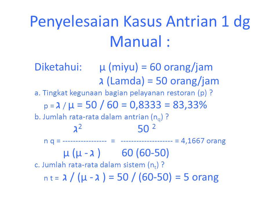 Penyelesaian Kasus Antrian 1 dg Manual : Diketahui: µ (miyu) = 60 orang/jam ג (Lamda) = 50 orang/jam a. Tingkat kegunaan bagian pelayanan restoran (p)