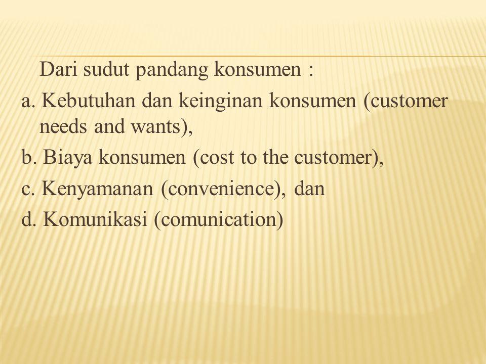 Dari sudut pandang konsumen : a. Kebutuhan dan keinginan konsumen (customer needs and wants), b. Biaya konsumen (cost to the customer), c. Kenyamanan