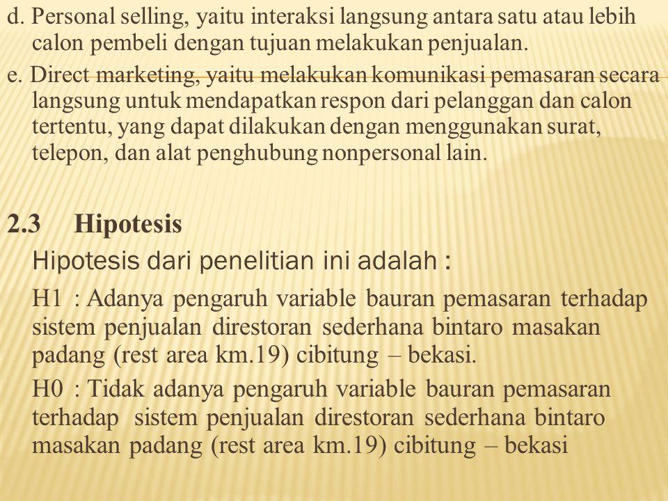 d. Personal selling, yaitu interaksi langsung antara satu atau lebih calon pembeli dengan tujuan melakukan penjualan. e. Direct marketing, yaitu melak