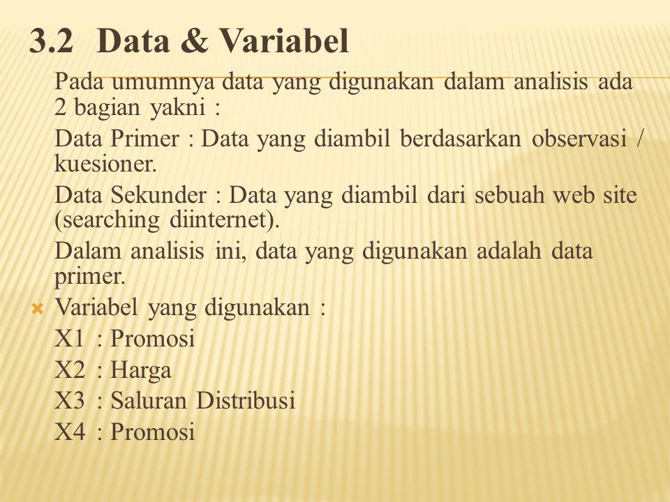 3.2Data & Variabel Pada umumnya data yang digunakan dalam analisis ada 2 bagian yakni : Data Primer : Data yang diambil berdasarkan observasi / kuesioner.