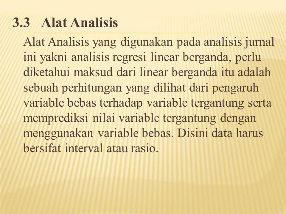 3.3Alat Analisis Alat Analisis yang digunakan pada analisis jurnal ini yakni analisis regresi linear berganda, perlu diketahui maksud dari linear berganda itu adalah sebuah perhitungan yang dilihat dari pengaruh variable bebas terhadap variable tergantung serta memprediksi nilai variable tergantung dengan menggunakan variable bebas.