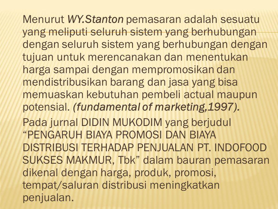Menurut WY.Stanton pemasaran adalah sesuatu yang meliputi seluruh sistem yang berhubungan dengan seluruh sistem yang berhubungan dengan tujuan untuk m