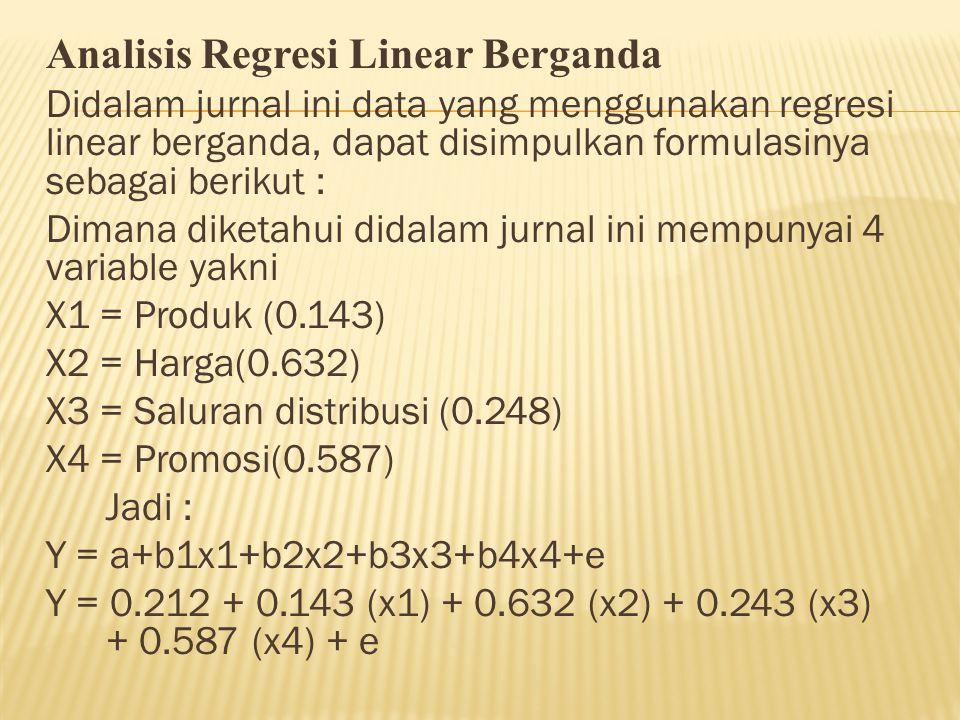 Analisis Regresi Linear Berganda Didalam jurnal ini data yang menggunakan regresi linear berganda, dapat disimpulkan formulasinya sebagai berikut : Di