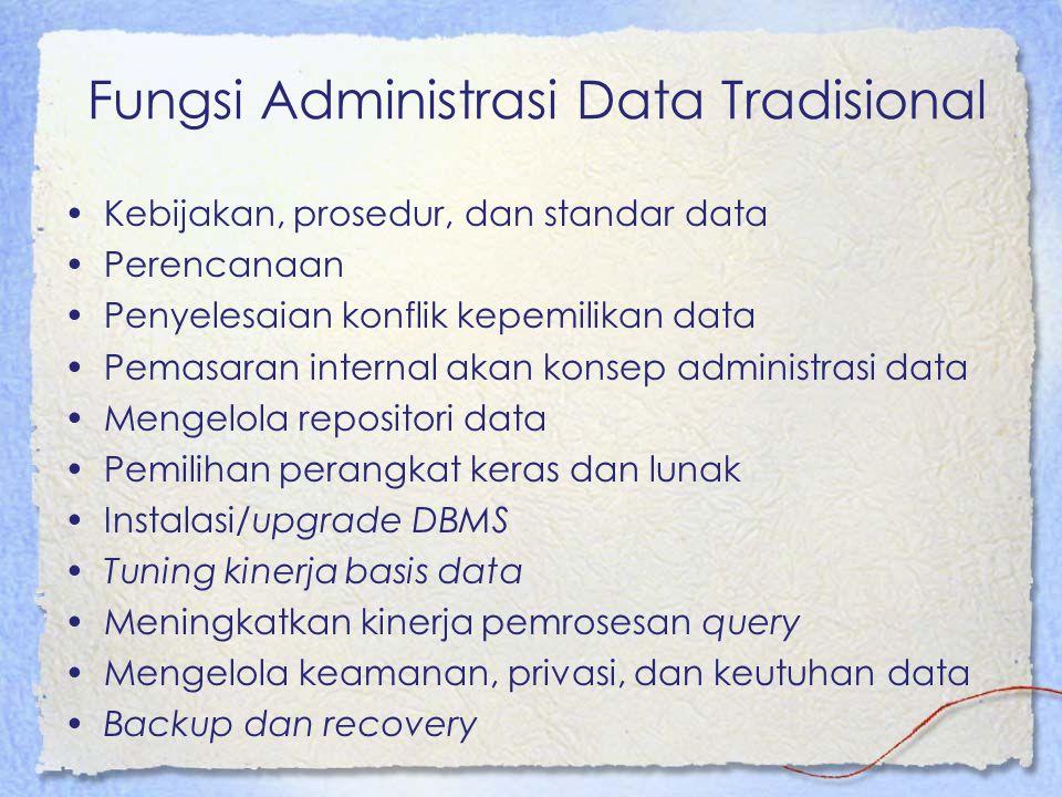 Fungsi Administrasi Data Tradisional Kebijakan, prosedur, dan standar data Perencanaan Penyelesaian konflik kepemilikan data Pemasaran internal akan k