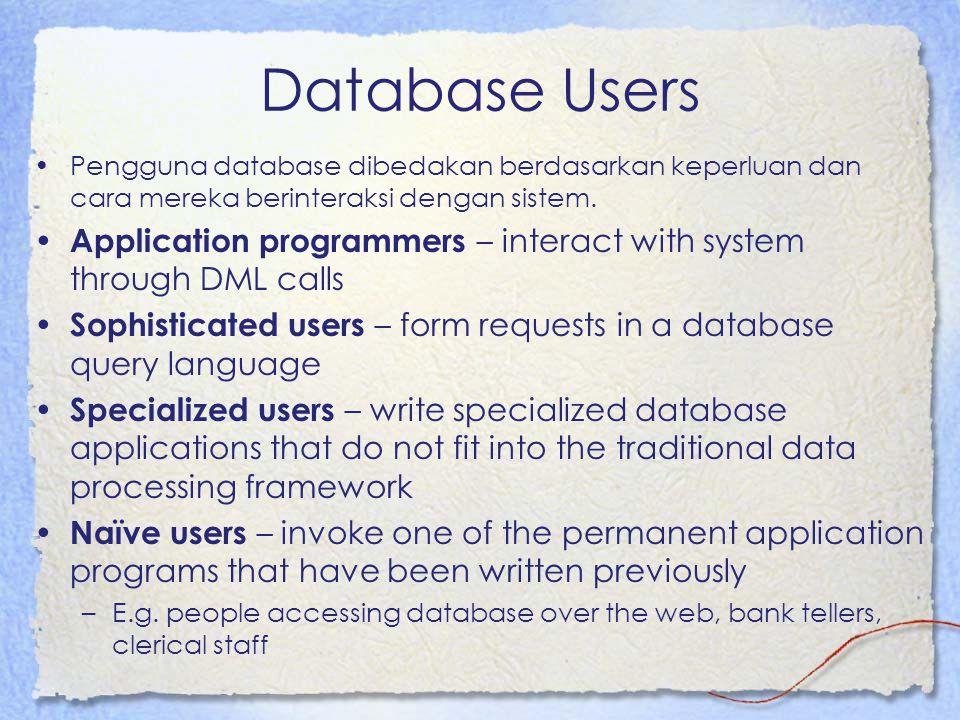 Database Users Pengguna database dibedakan berdasarkan keperluan dan cara mereka berinteraksi dengan sistem. Application programmers – interact with s