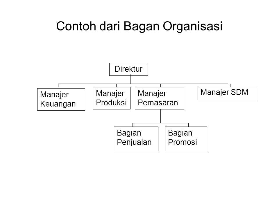 Contoh dari Bagan Organisasi Direktur Manajer Produksi Manajer Pemasaran Manajer SDM Manajer Keuangan Bagian Penjualan Bagian Promosi