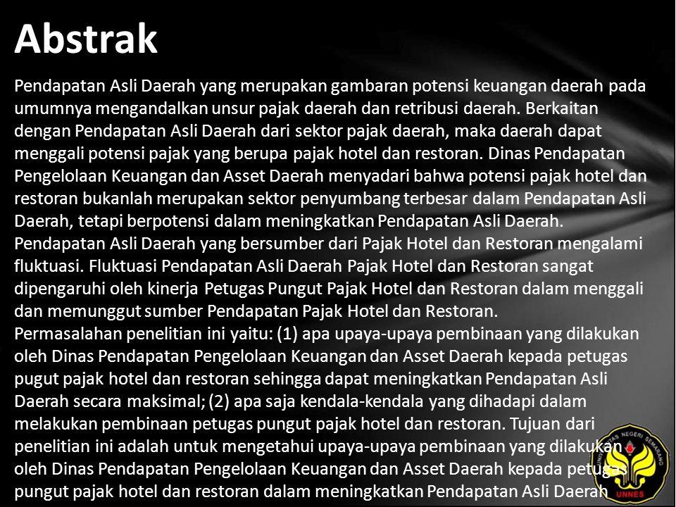 Kata Kunci Pembinaan, Petugas pungut pajak Hotel dan Restoran.