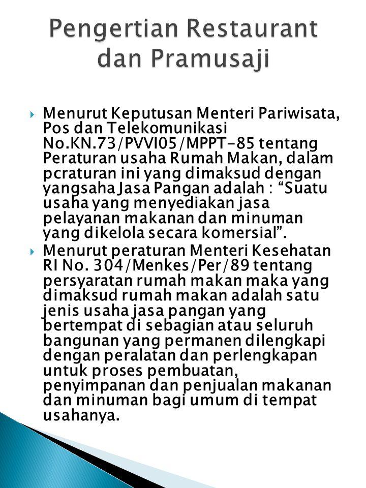 Menurut Keputusan Menteri Pariwisata, Pos dan Telekomunikasi No.KN.73/PVVI05/MPPT-85 tentang Peraturan usaha Rumah Makan, dalam pcraturan ini yang dimaksud dengan yangsaha Jasa Pangan adalah : Suatu usaha yang menyediakan jasa pelayanan makanan dan minuman yang dikelola secara komersial .