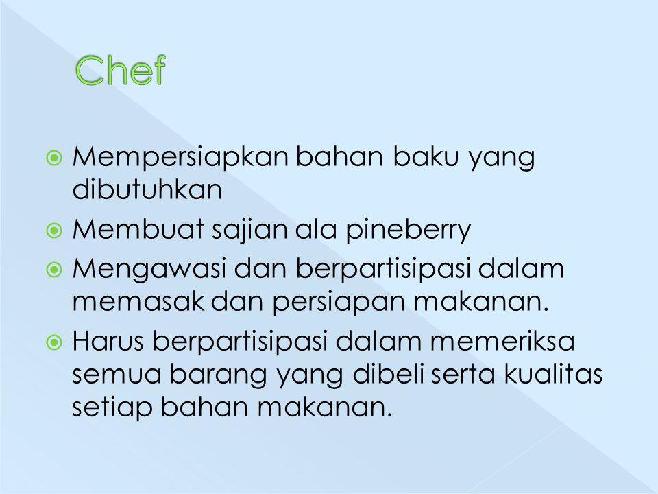  Mempersiapkan bahan baku yang dibutuhkan  Membuat sajian ala pineberry  Mengawasi dan berpartisipasi dalam memasak dan persiapan makanan.  Harus