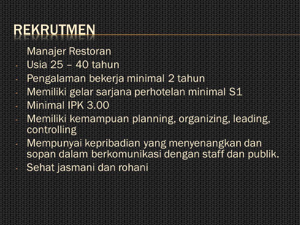 Manajer Restoran - Usia 25 – 40 tahun - Pengalaman bekerja minimal 2 tahun - Memiliki gelar sarjana perhotelan minimal S1 - Minimal IPK 3.00 - Memilik