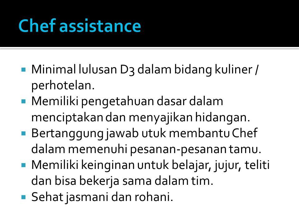  Minimal lulusan D3 dalam bidang kuliner / perhotelan.