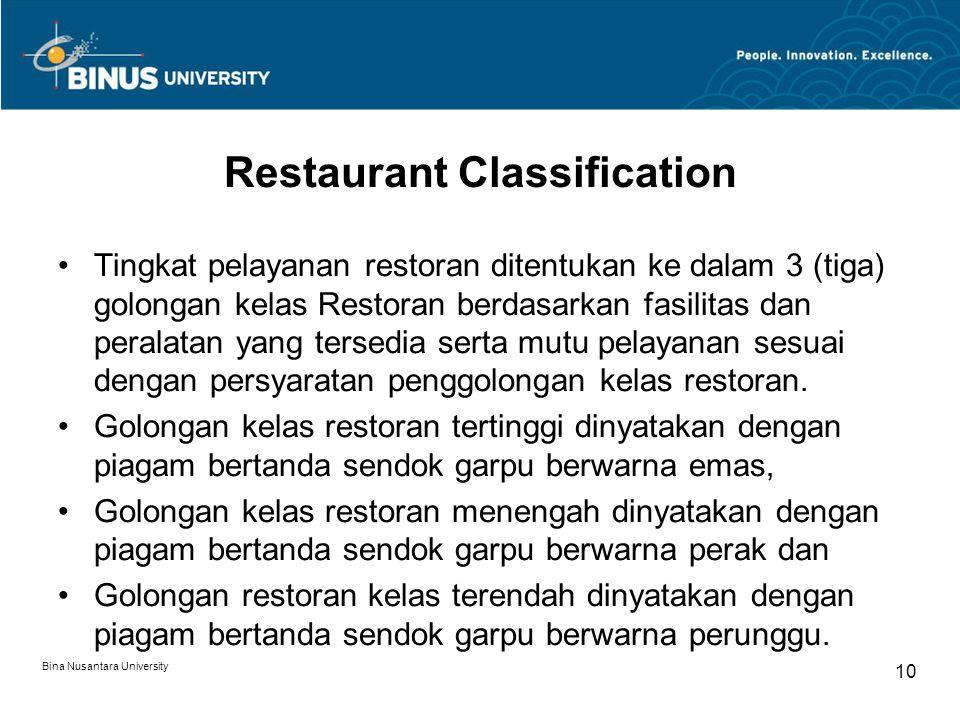 Bina Nusantara University 10 Restaurant Classification Tingkat pelayanan restoran ditentukan ke dalam 3 (tiga) golongan kelas Restoran berdasarkan fas