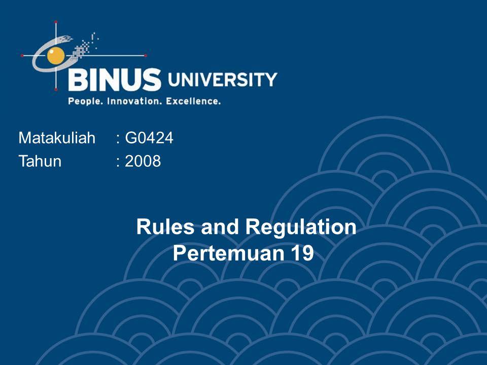 Bina Nusantara University 3 Topics Rules and regulations