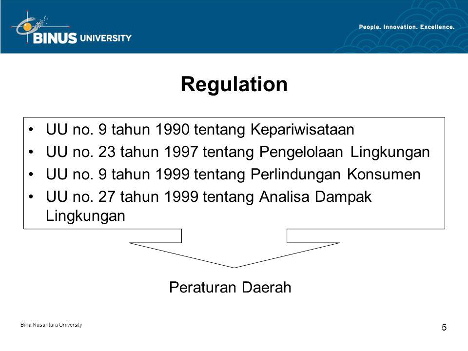 Bina Nusantara University 5 Regulation UU no. 9 tahun 1990 tentang Kepariwisataan UU no. 23 tahun 1997 tentang Pengelolaan Lingkungan UU no. 9 tahun 1