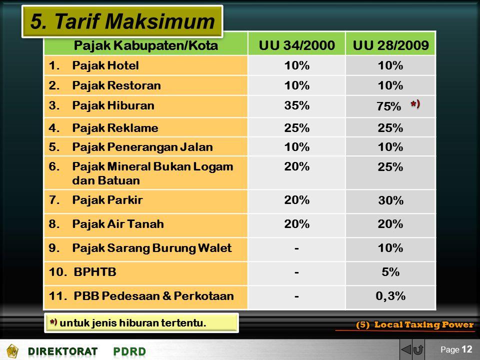 Pajak Kabupaten/KotaUU 34/2000UU 28/2009 1. Pajak Hotel10% 2. Pajak Restoran10% 3. Pajak Hiburan35%75% 4. Pajak Reklame25% 5. Pajak Penerangan Jalan10