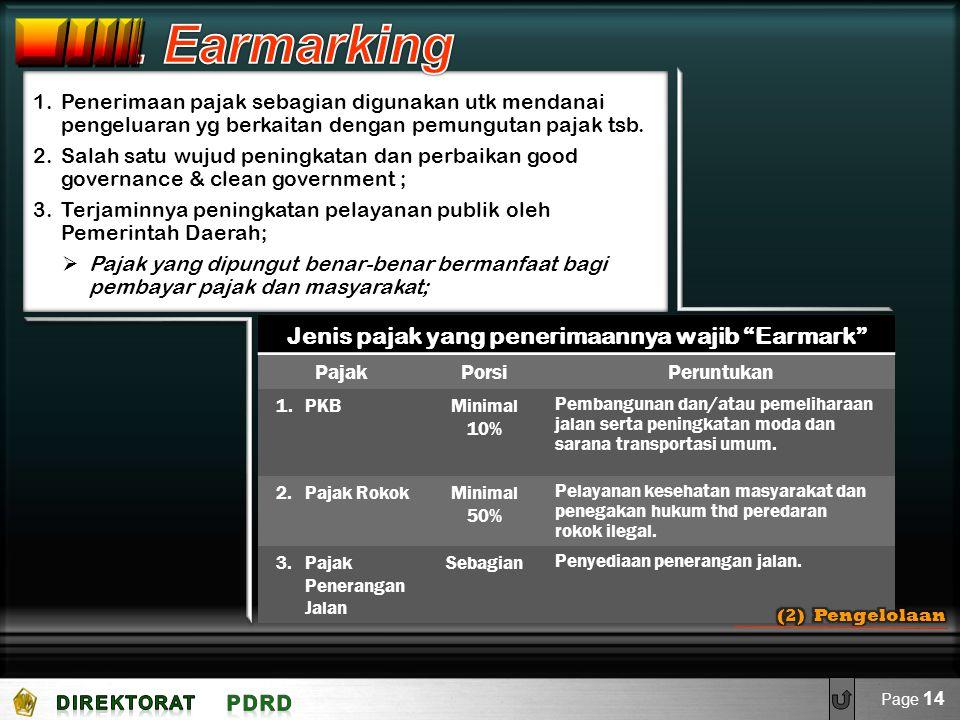 "Jenis pajak yang penerimaannya wajib ""Earmark"" PajakPorsiPeruntukan 1.PKBMinimal 10% Pembangunan dan/atau pemeliharaan jalan serta peningkatan moda da"