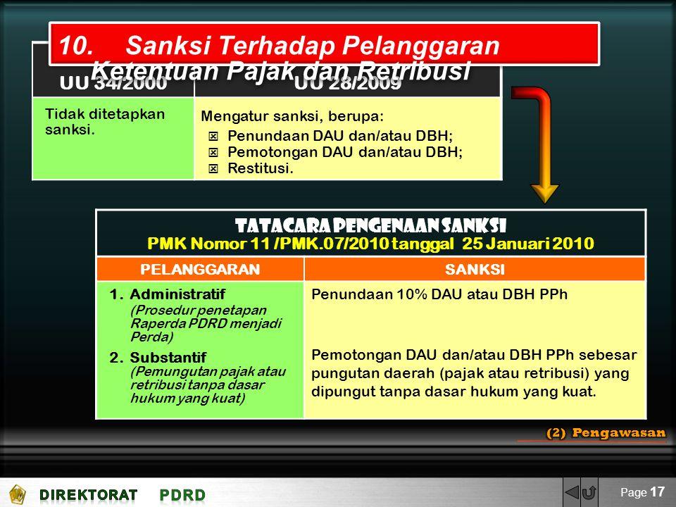 UU 34/2000UU 28/2009 Tidak ditetapkan sanksi. Mengatur sanksi, berupa:  Penundaan DAU dan/atau DBH;  Pemotongan DAU dan/atau DBH;  Restitusi. 10.Sa