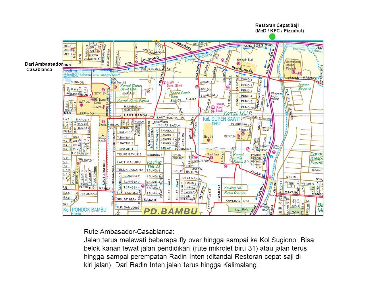 Dari Cawang / DI Panjaitan Dari Kol Sugiono Rute Jalan Tol : Mungkin bisa keluar di pintu Pd Gede Barat.