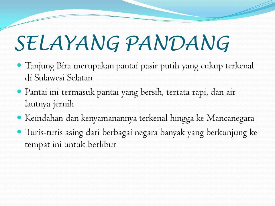 SELAYANG PANDANG Tanjung Bira merupakan pantai pasir putih yang cukup terkenal di Sulawesi Selatan Pantai ini termasuk pantai yang bersih, tertata rapi, dan air lautnya jernih Keindahan dan kenyamanannya terkenal hingga ke Mancanegara Turis-turis asing dari berbagai negara banyak yang berkunjung ke tempat ini untuk berlibur