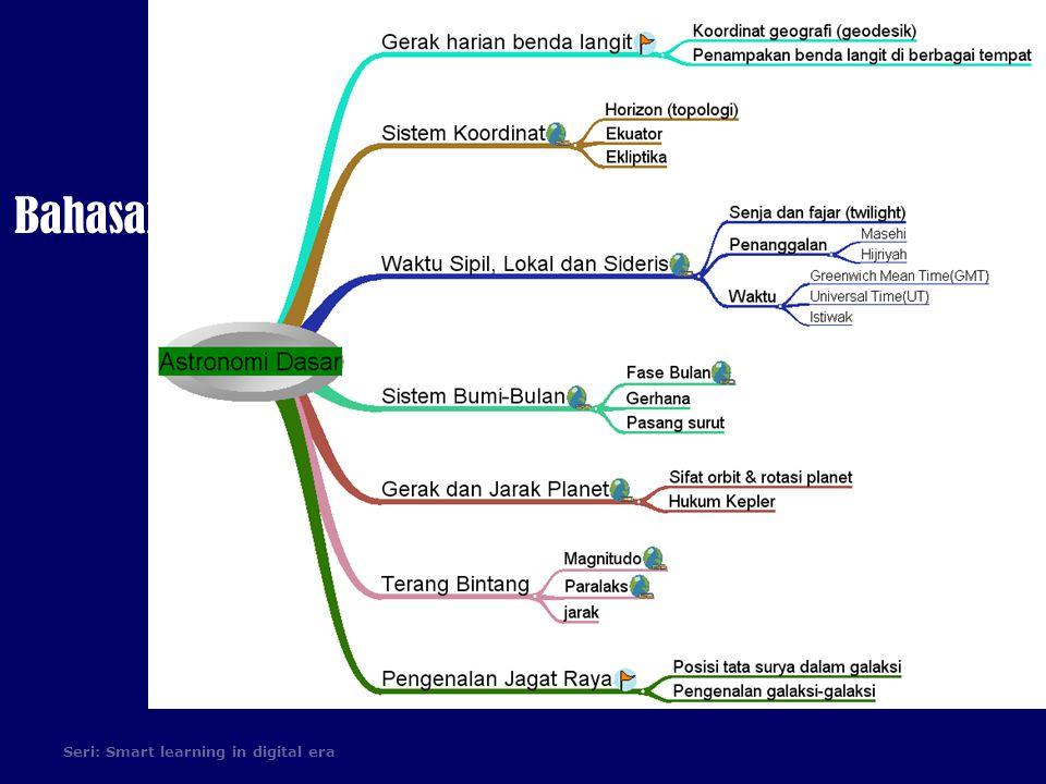 Sistem Koordinat  Sistem/tata koordinat untuk memetakan posisi di langit Sistem/tata koordinat  Umumnya didefinisikan pada dua lingkaran besar acuan pada bola langit dalam satuan sudut lingkaran besarbola langit  bidang fundamental: lingkaran besar yang tegak lurus garis penghubung kedua kutub tata koordinat bidang fundamental Koordinat pertama dihitung dari bidang fundamental ke arah kutub atau sebaliknya.kutub  lingkaran bujur nol: lingkaran besar yang melewati kedua kutub tata koordinat dan didefinisikan sebagai titik awalbujurkutub Koordinat kedua dihitung dari lingkaran bujur nol ke lingkaran bujur obyek.
