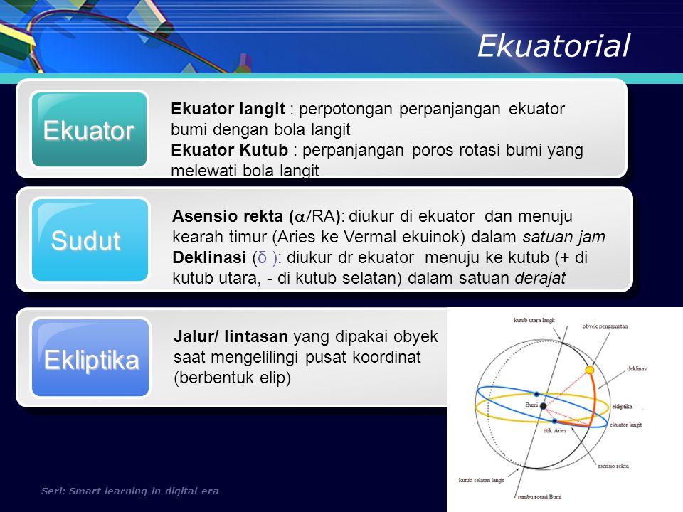 Ekliptika Seri: Smart learning in digital era Lintang Diukur dari ekuator langit ke kutub utara langit Bujur / Meridian Diukur barat ke timur (BT) atau dari timur ke barat (BB) Ekliptika Bidang dasar terbentuk dari jalur/ lintasan/ orbit benda lingit (obyek) berbentuk elip Kutub Langit Mengacu pada pusat koordinat
