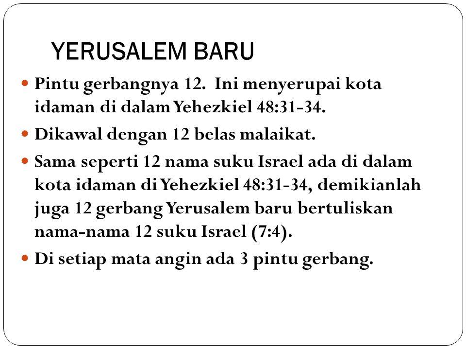 YERUSALEM BARU Pintu gerbangnya 12. Ini menyerupai kota idaman di dalam Yehezkiel 48:31-34. Dikawal dengan 12 belas malaikat. Sama seperti 12 nama suk