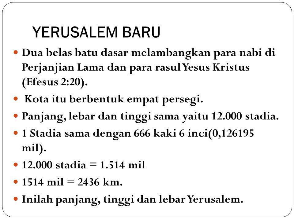 YERUSALEM BARU Dua belas batu dasar melambangkan para nabi di Perjanjian Lama dan para rasul Yesus Kristus (Efesus 2:20). Kota itu berbentuk empat per